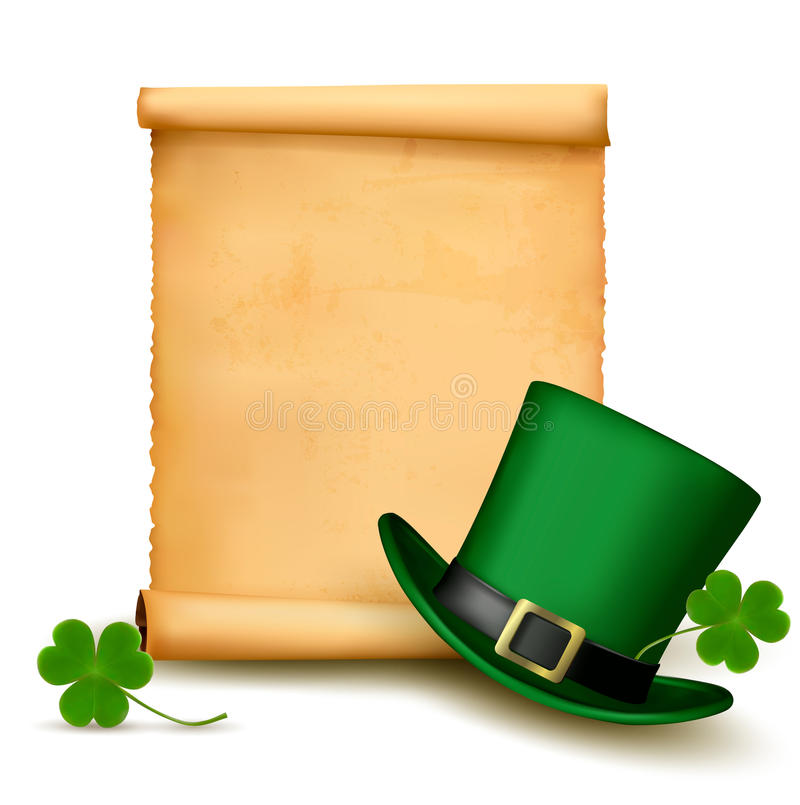 Background with St. Patricks Day hat with clover. stock photo