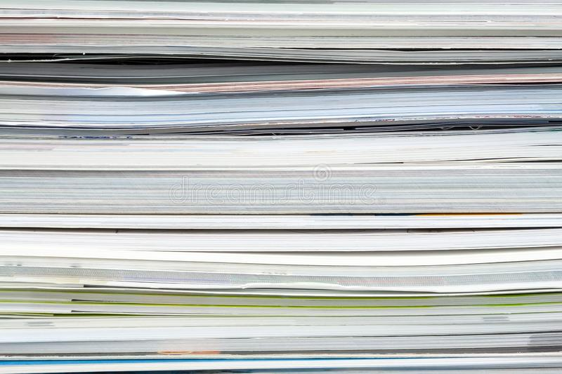 Background from stacked magazines, brochures, notebooks, catalogs.  stock photography