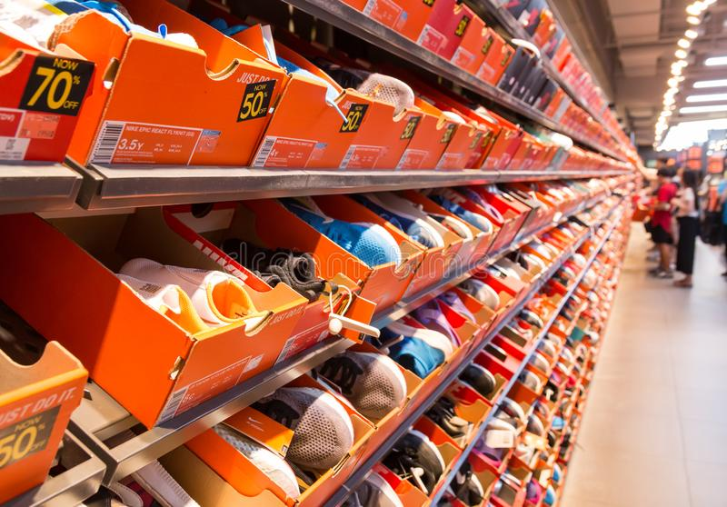 Background of stacked Nike shoes boxes at Paju premium outlet in South Korea stock photos