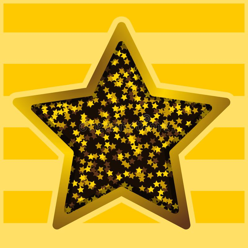 The background star on a yellow striped background. Postcard background banner design element decor. Vector image royalty free illustration
