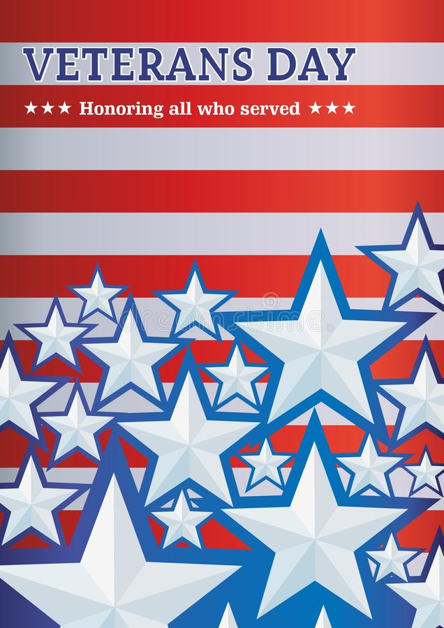 Background with stars Veterans day,  template for posters, announcements, greetings. Vector background with stars Veterans day,  template for posters vector illustration