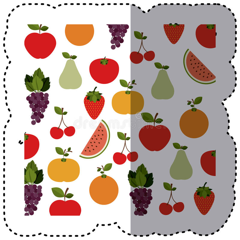 Background sticker with fruits in irregular shape. Vector illustration royalty free illustration