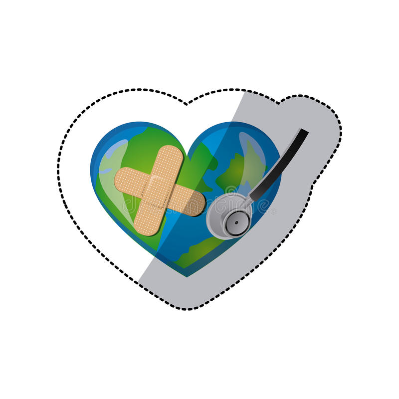 background sticker of planet earth in shape of heart with adhesive bandage and stethoscope vector illustration