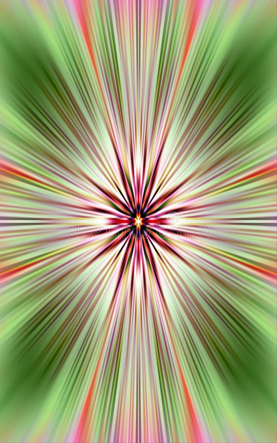 Background from straight lines. The colored stripes diverges from the middle to the green edges. stock photography