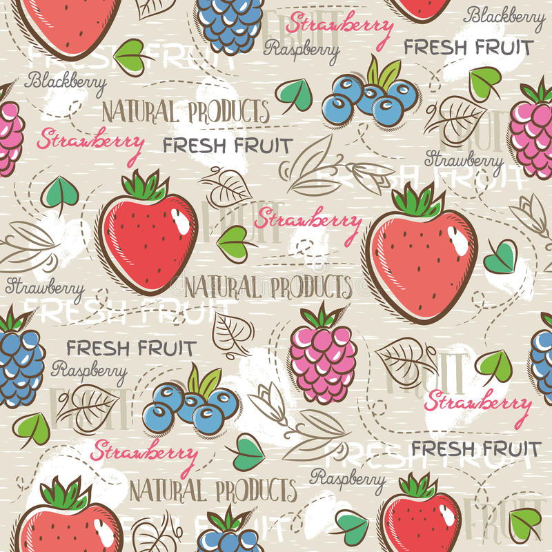 Background with strawberry, blackberry, blueberry, vector. Background with strawberry, blackberry, blueberry and raspberry. Ideal for printing onto fabric and stock illustration
