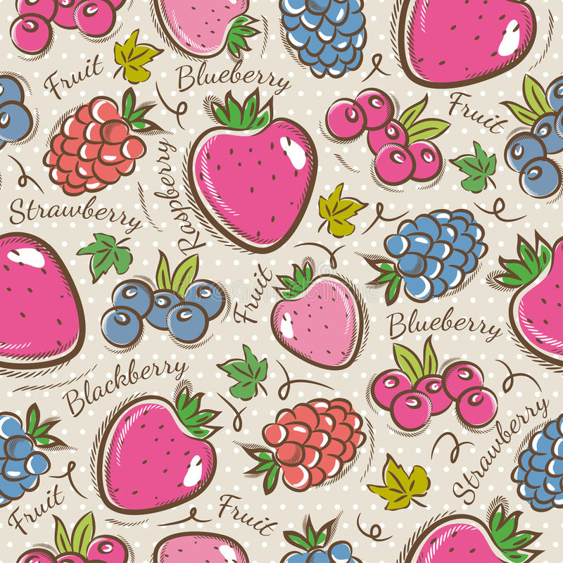 Background with strawberry, blackberry and raspberry. Ideal for printing onto fabric and paper or scrap booking royalty free illustration
