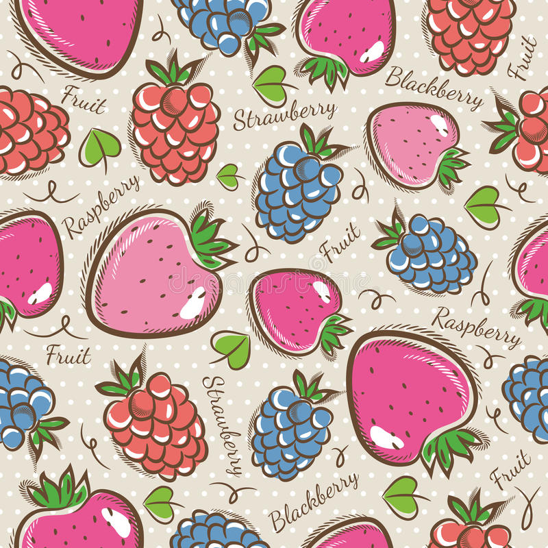 Background with strawberry, blackberry and raspberry. Seamless Patterns with Fruit Background with strawberry, blackberry and raspberry. Ideal for printing onto stock illustration