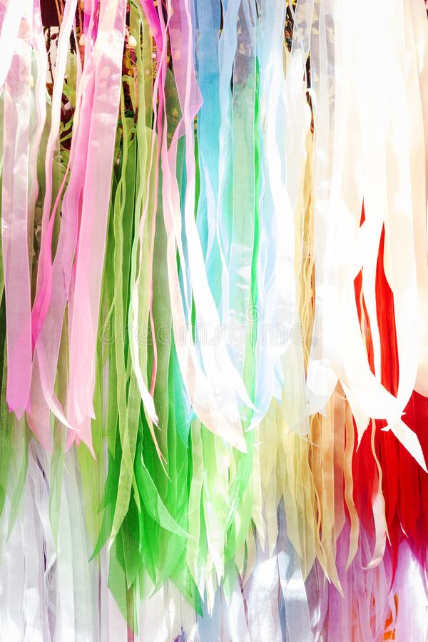 Strips of silk fabric of various colors royalty free stock images