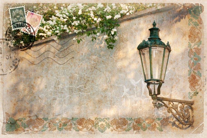 Background, stylized as vintage postcard royalty free illustration