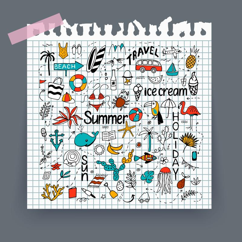 Background with summer set of isolated cute colorful and black w. Hite images in doodle style and text lettering on note with ripped edges. Line art illustration stock illustration