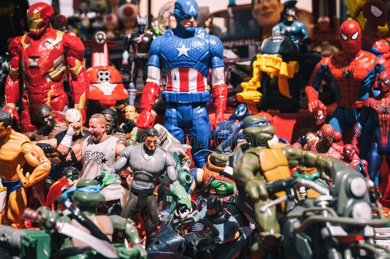 Background of superheroes action figures toys. stock photos