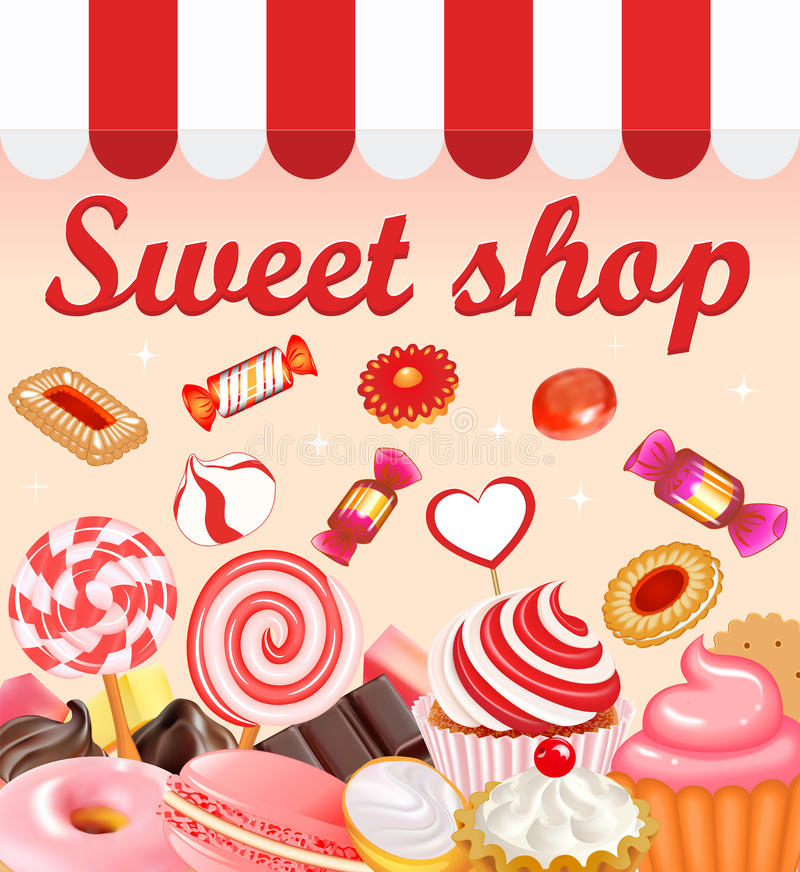 Background with sweet desserts, food, candy, donuts, lollipops,. Chocolate. Pink cupcake, donut and gingerbread with cherries and pastry inscription royalty free illustration