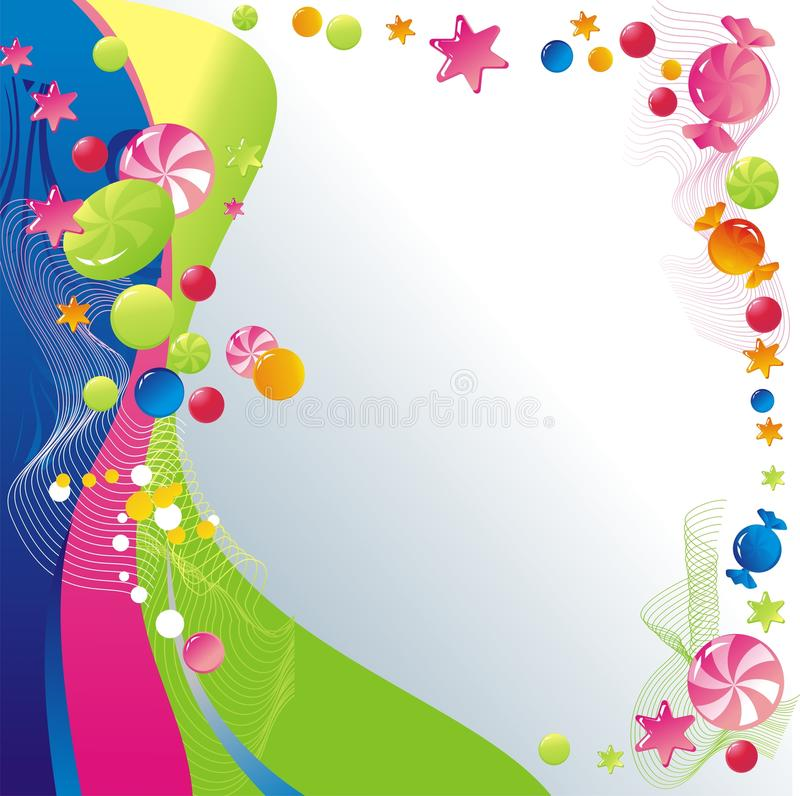 Background with sweets. Sweet celebratory design: candy and stars royalty free illustration