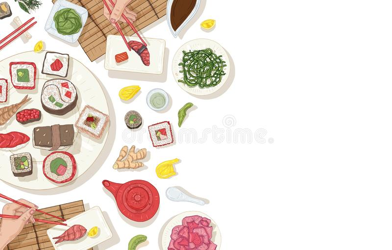 Background with table full of traditional Japanese food and hands holding sushi, sashimi and rolls with chopsticks royalty free illustration