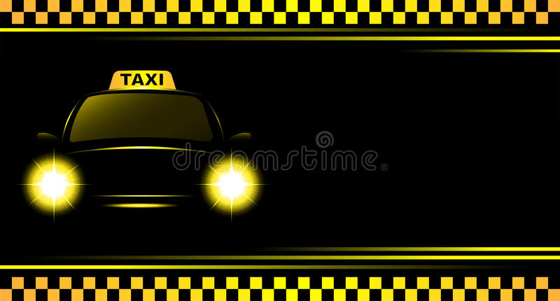 Background with taxi sign and cab. Business card and black background with taxi sign and cab vector illustration