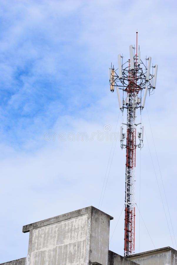 Background for technology. Cloudy day and the telecommunication pole use for background royalty free stock photo
