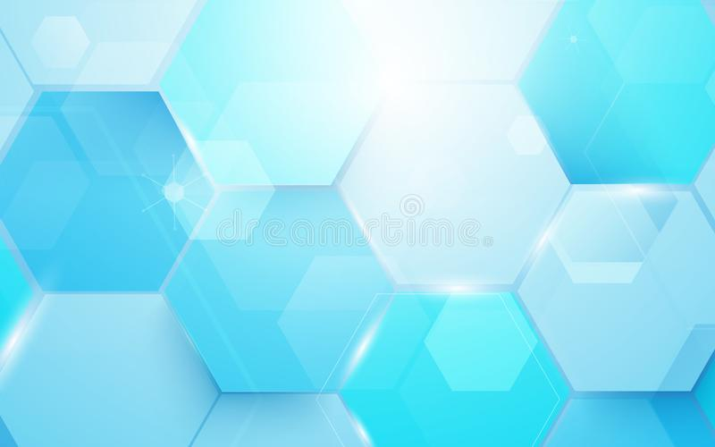Background, technology, tech, abstract, blue, concept, digital,. Abstract blue technology digital hi tech hexagons concept background. Illustration vector vector illustration