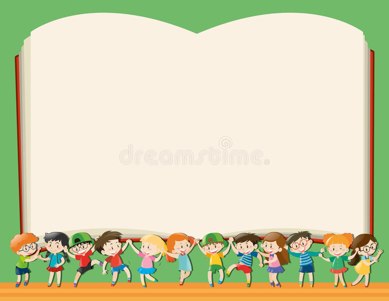 Background Template With Kids Holding Big Book Stock Vector