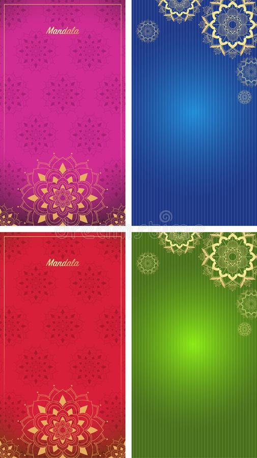 Background template with mandala designs royalty free illustration