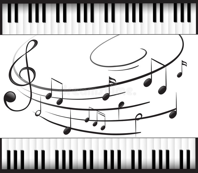 Background Template With Piano Keyboard And Music Notes Stock Vector ...
