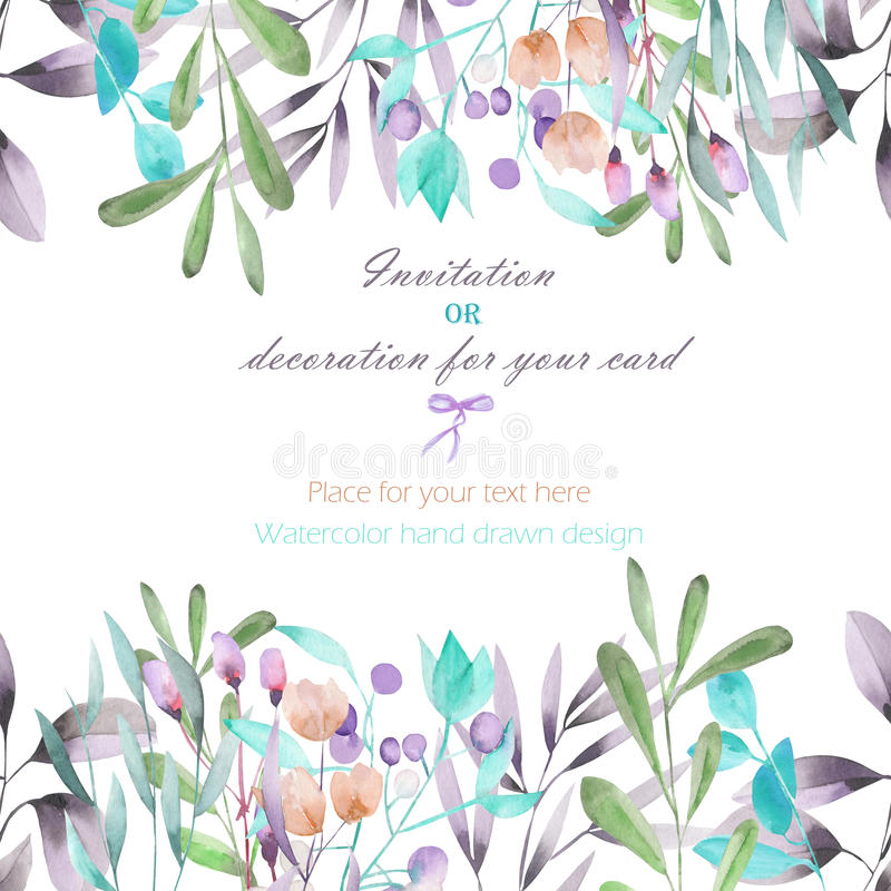 Background, template postcard with the watercolor branches, flowers and plants, hand drawn on a white background vector illustration