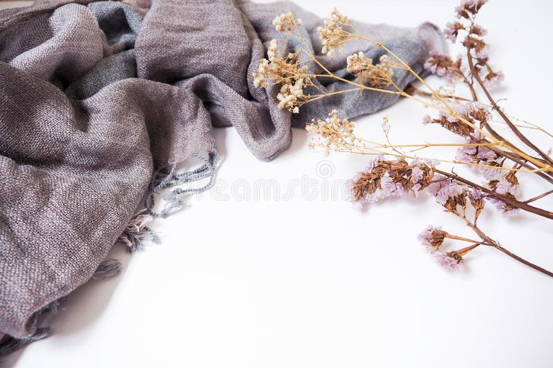 Background templates with blank text space on fabric and decorative dried flowers stock images