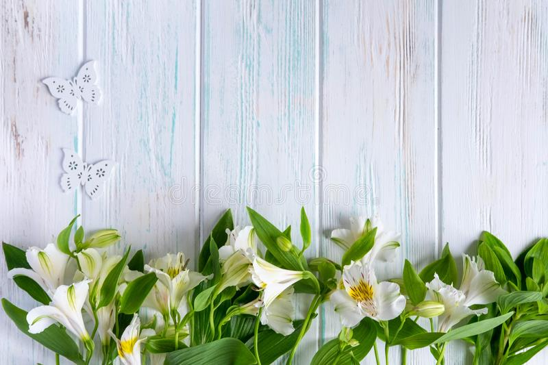 Background for text banner on a light wooden background with white flowers and butterflies. Blank, frame for text. Greeting card. Design with flowers royalty free stock image