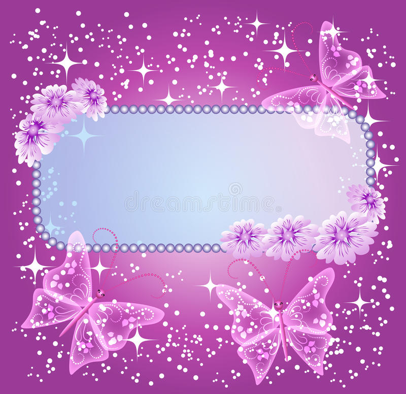 Background for text with flowers and butterfly stock illustration