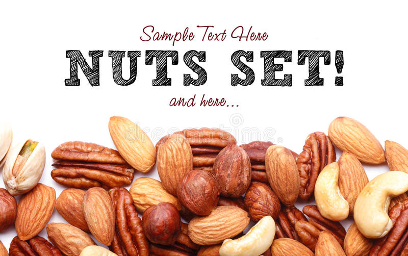 Background texture of assorted mixed nuts royalty free stock photo
