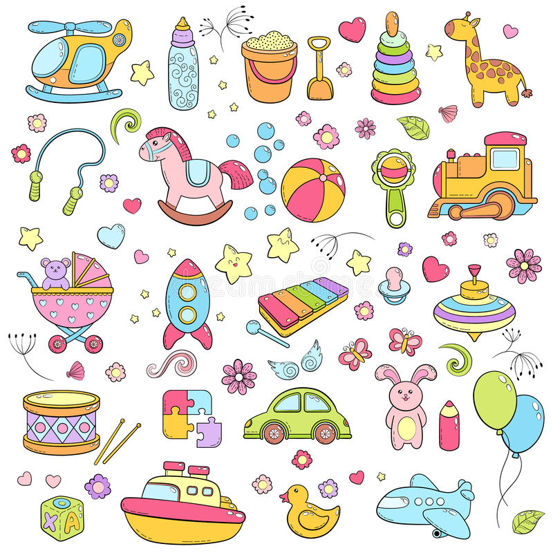 Background, texture, backdrop, pattern, wallpaper with children cartoon doodle toys. Educational games for kids, vector vector illustration