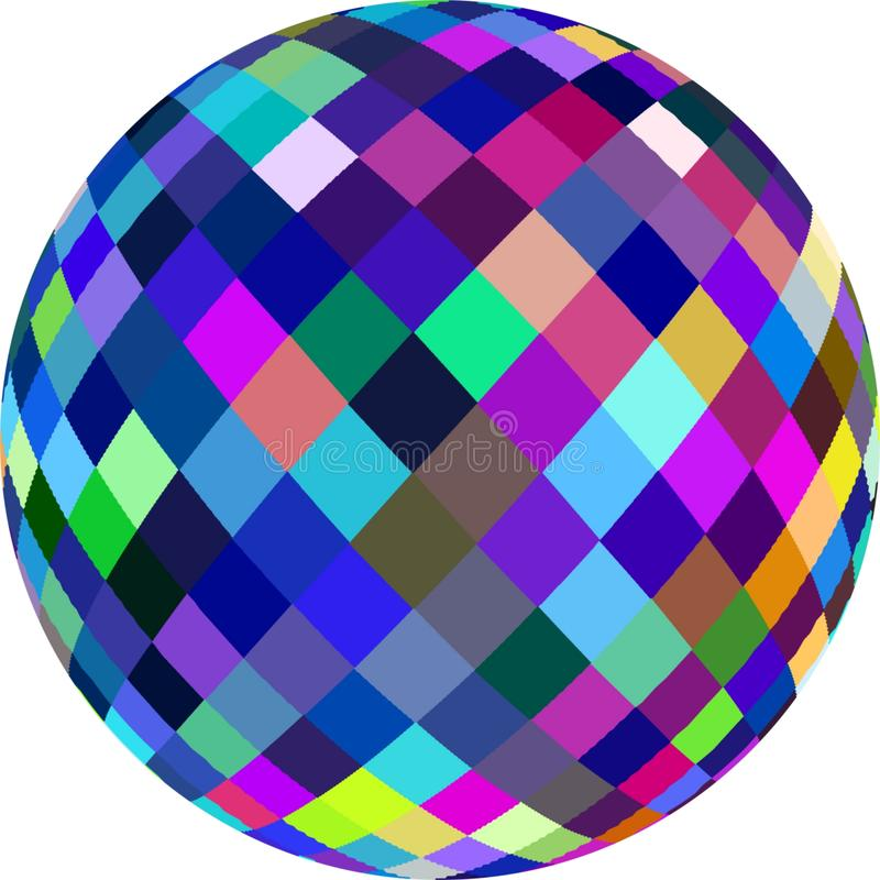 Blue lilac colorful crystal sphere abstract graphic 3d. royalty free stock image