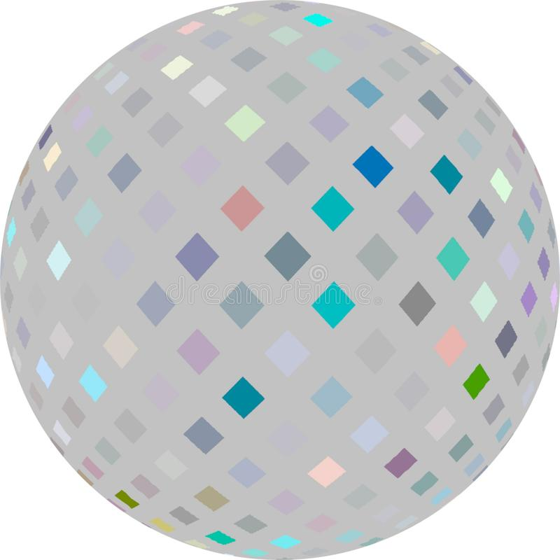 3d bubble light grey mosaic on white background. Isolated sphere abstract graphic. royalty free stock photography