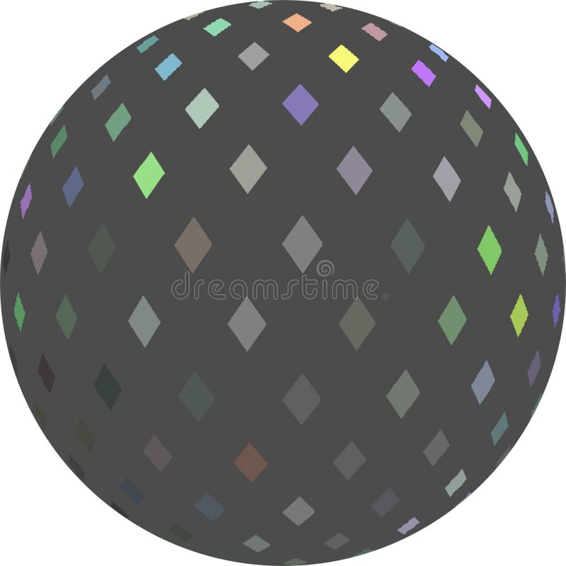 Grey ball 3d on white background isolated. Mosaic pattern sphere abstract object. stock image
