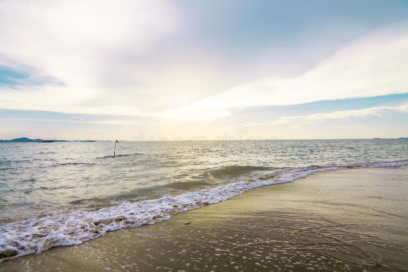 Background texture  of Blue sea and brown sand royalty free stock photography