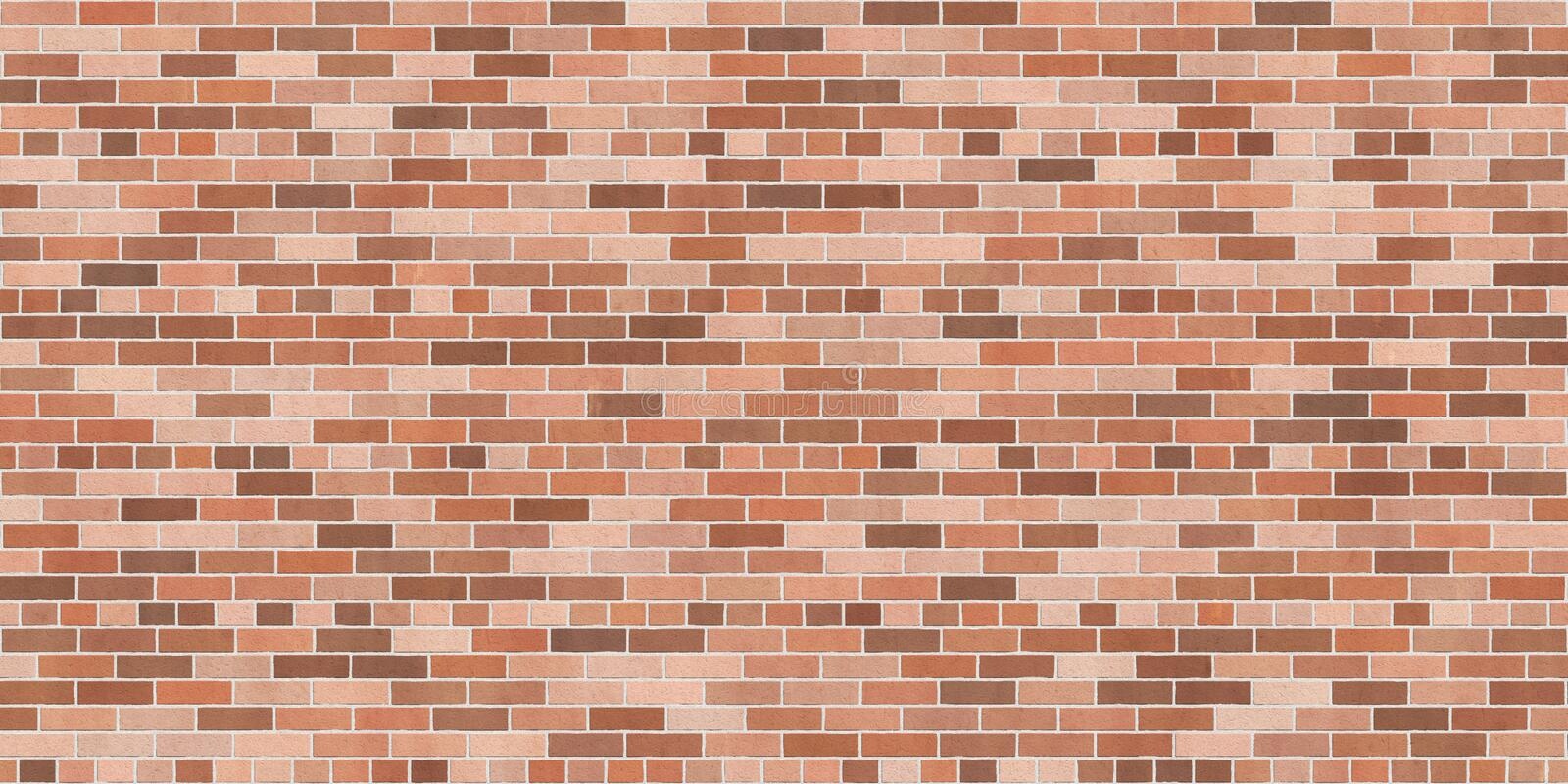 Background texture with brown brick wall. Common bond, wallpaper widescreen stock illustration