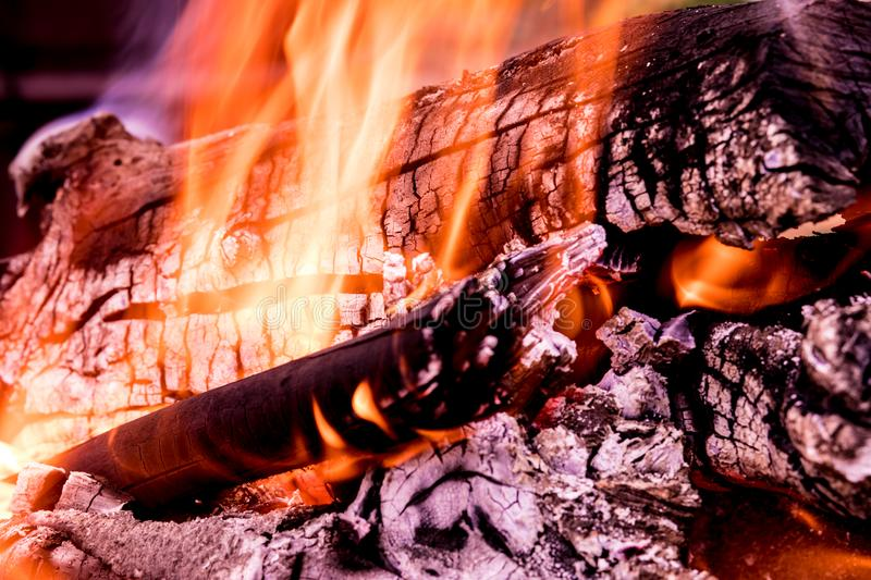 The background or texture of burning fire, smoke, wood, ash and coal royalty free stock photos