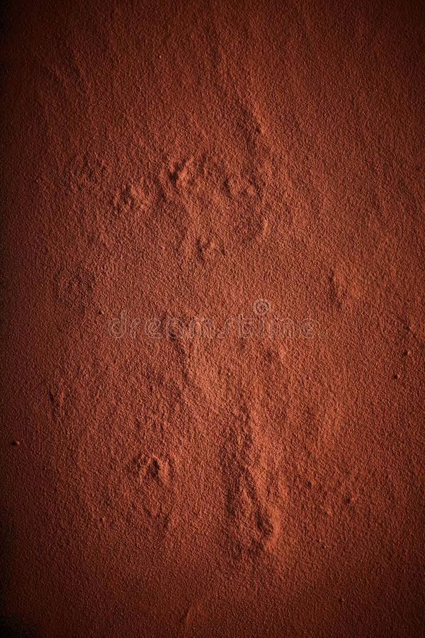 Background texture of cocoa or chocolate powder. In a flat layer with side vignettes royalty free stock photography