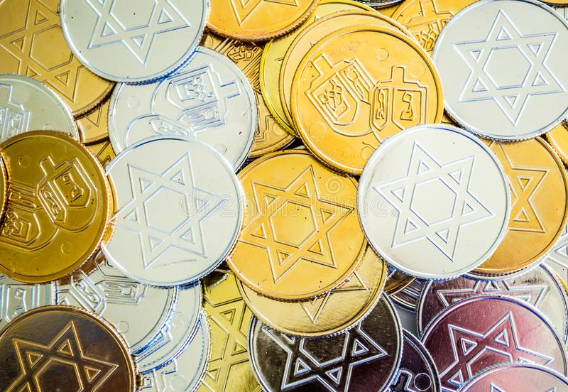 Background texture colorful Hanukkah coins stock images