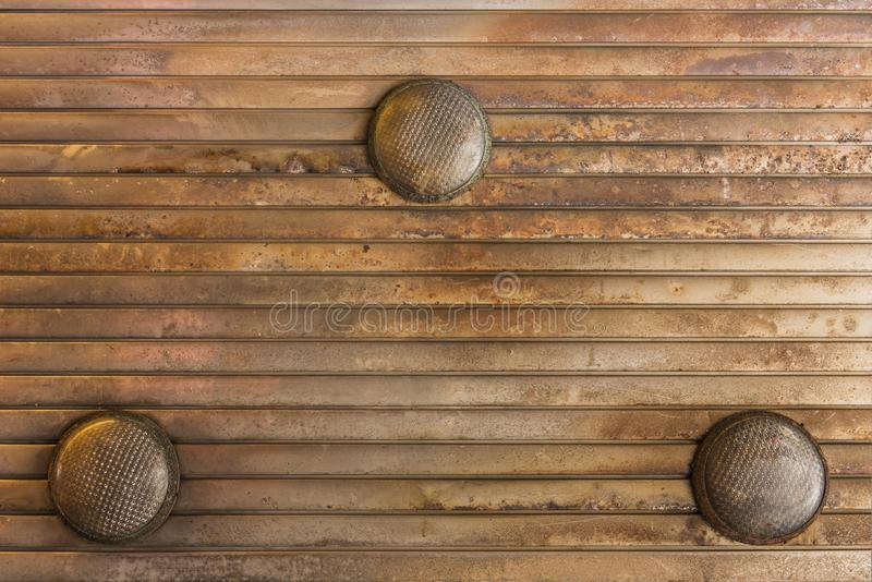 Background texture of corrugated rusty metal ceiling equipped wi royalty free stock image