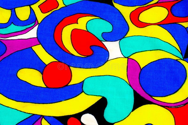 Background texture, drawing. Cloth cotton. Blue yellow lilac white red. Abstract circles. stock images