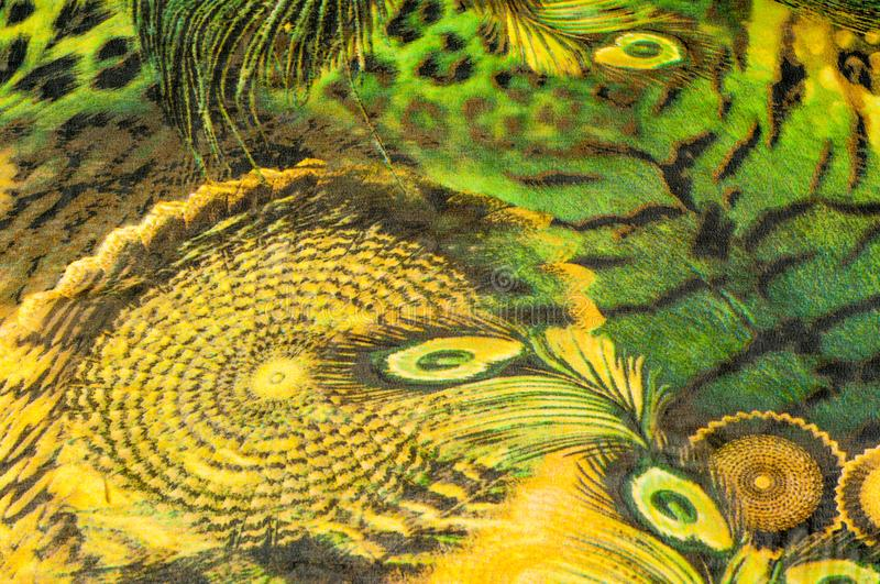 Background texture, drawing. Silk fabric. Light airy fabric. Green with peacock feathers. Yellow shade. Fabric cotton silk. Batiste mint green airy very light royalty free stock image