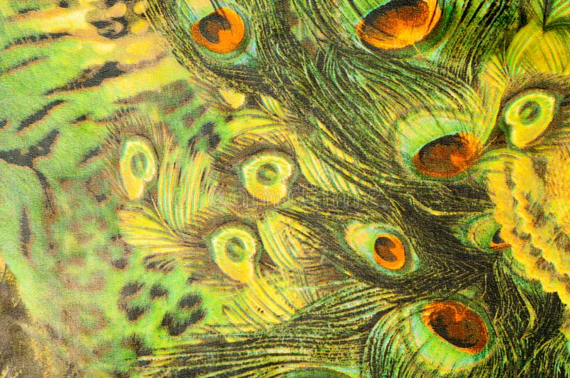 Background texture, drawing. Silk fabric. Light airy fabric. Green with peacock feathers. Yellow shade. Fabric cotton silk. Batiste mint green airy very light stock image