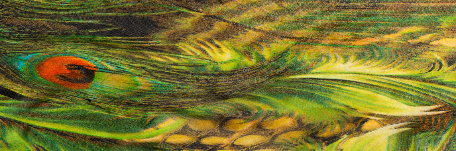 Background texture, drawing. Silk fabric. Light airy fabric. Gre. En with peacock feathers. Yellow shade. Fabric cotton silk batiste mint green airy very light royalty free stock image