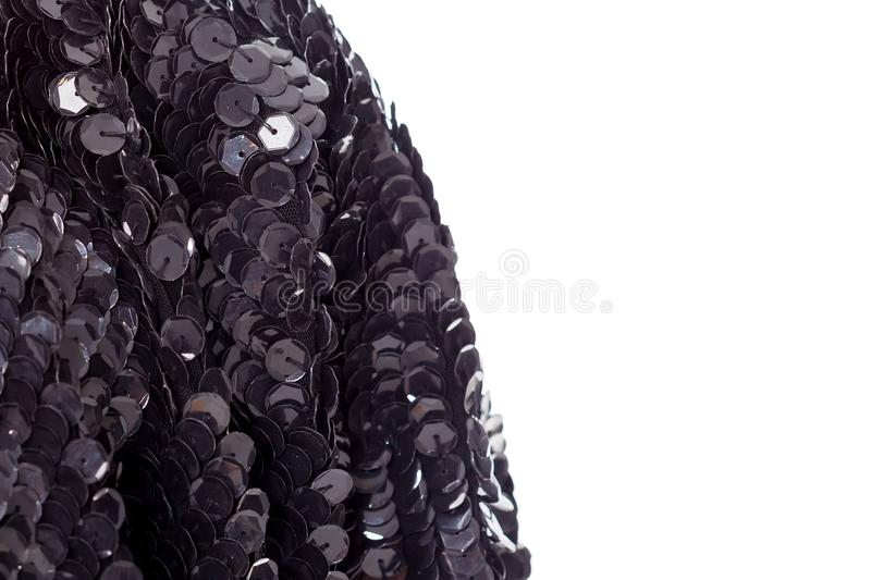 Background - texture festive designer fabric embroidered sequins, beads stock images