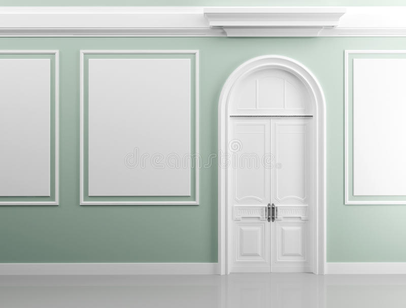 Background texture of green walls with white door vector illustration