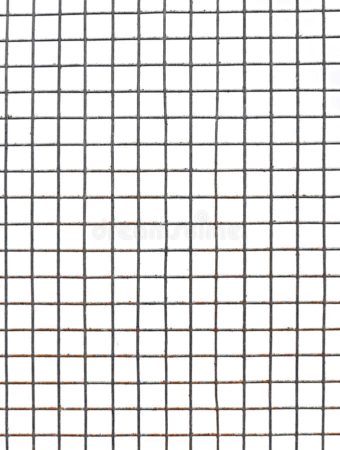 Background texture of metal mesh cells isolated. On white background stock photography