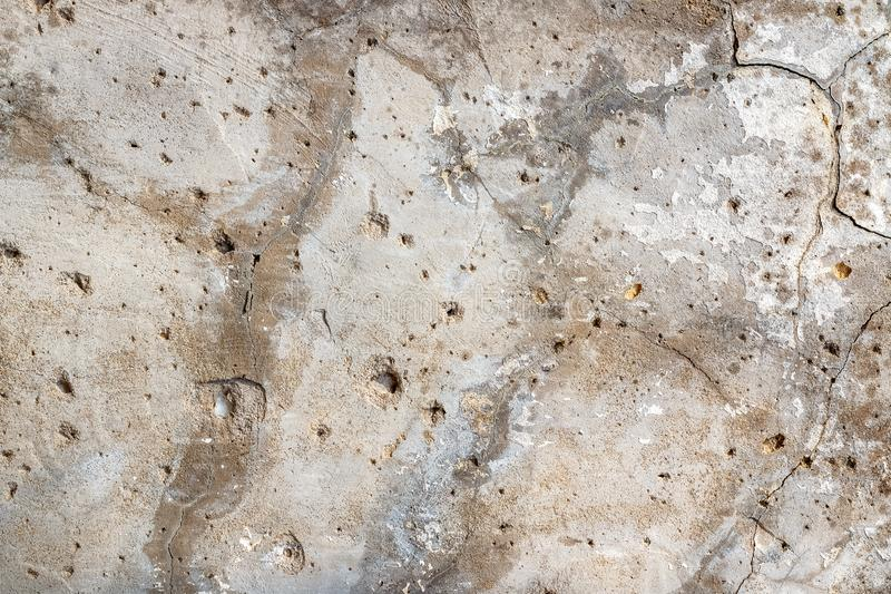 Background texture of an old concrete wall with cracks for mockup or design pattern in construction, food or industrial. Flat layer of sample concept layout stock image