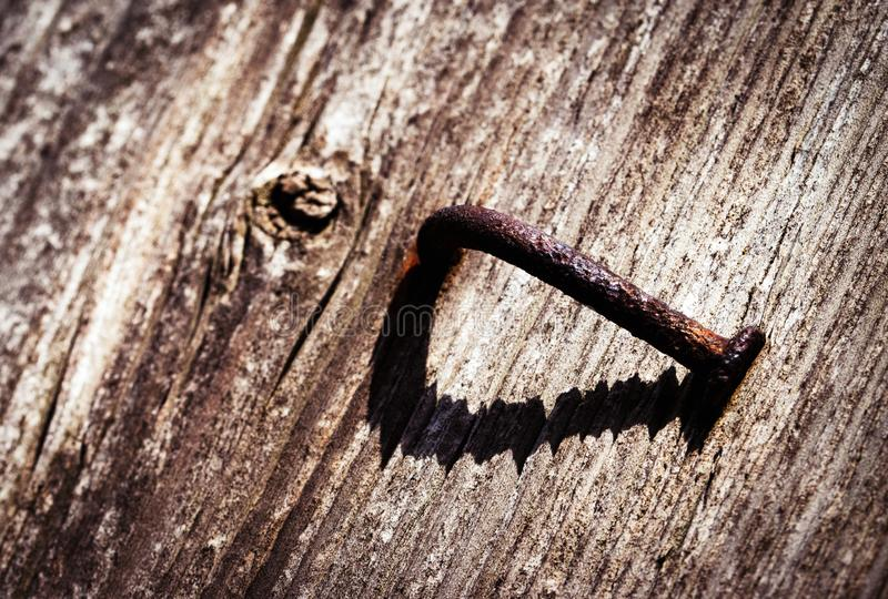 Rusty bent nail on the board royalty free stock photography