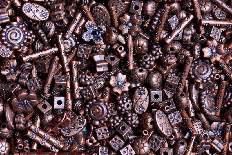 Background texture of various beads close-up stock photo