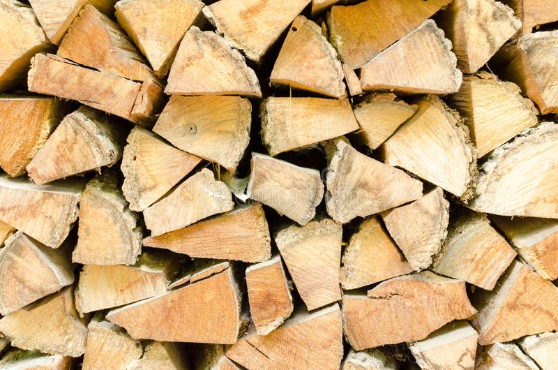 Background, texture of the wall from the folded logs stock photography